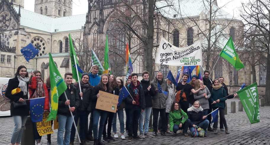 Protest gegen den Neujahrsempfang der AfD – 8000 Münsteraner demonstrieren für ein weltoffenes Münster